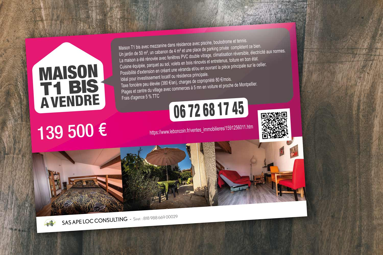 Panneau de vente immobilière - Flyer /  APE LOC CONSULTING